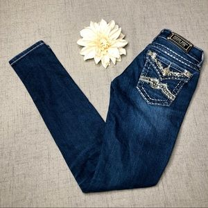 Miss Me Crystal Bling Skinny Jeans LONG TALL